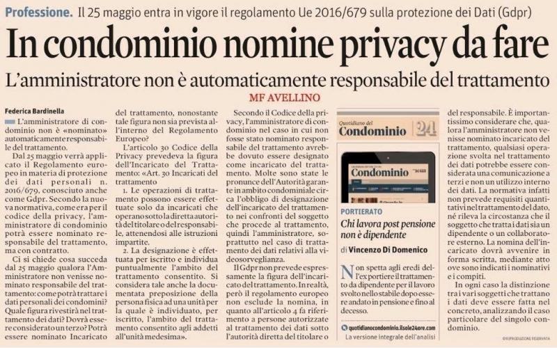 Privacy Amministratore di condominio
